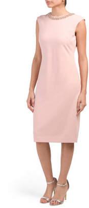 Jeweled Neckline Crepe Sheath Dress