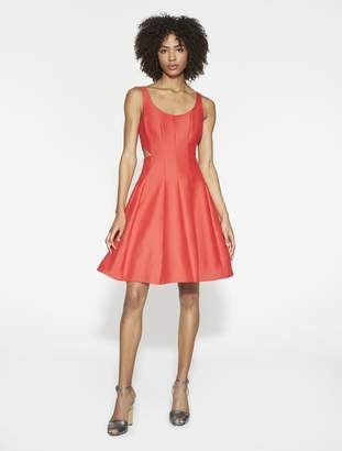 Halston Silk Faille Dress With Cut Outs