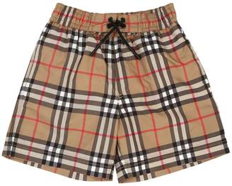 Burberry Check Print Nylon Swim Shorts