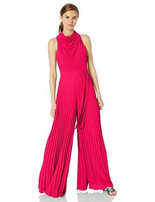 Halston Women's Sleeveless Cowl Neck Flowy Leg Jumpsuit