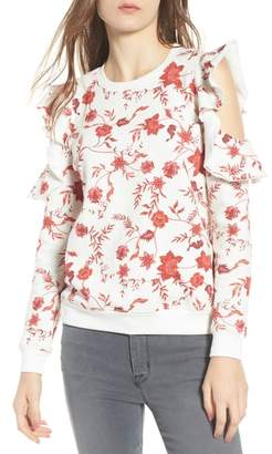 Rebecca Minkoff Gracie Cold Shoulder Floral Sweatshirt