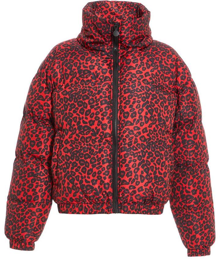 Red and Black Leopard Print Puffer Jacket