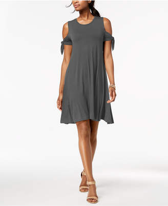 Style&Co. Style & Co Petite Cold-Shoulder Tie-Sleeve Dress, Created for Macy's