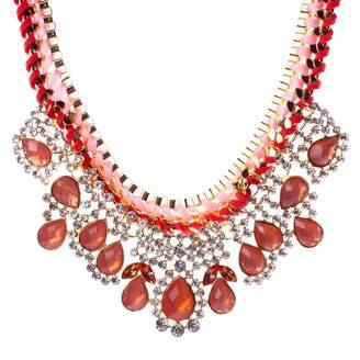 R & E Qiyun Crystal Teardrop Resin Luxurious Bib Chain Chunky Necklace Statement Re sine Cristal De Larme Collier