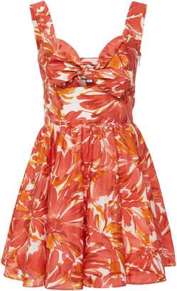 Alexis Belka Tie-Front Cotton-Blend Mini Dress