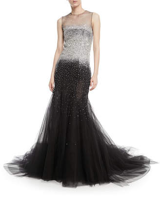 Oscar de la Renta Sleeveless Embellished Tulle Evening Gown