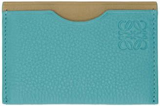 Loewe Blue and Brown Contrast Plain Cardholder