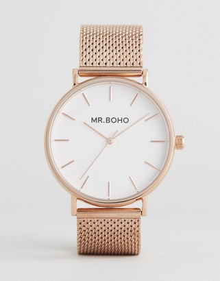 Mr Boho Mesh Strap Watch In Rose Gold $113 thestylecure.com