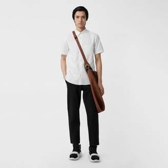 Burberry Short-sleeve Cotton Oxford Shirt , Size: M, White