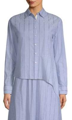 Donna Karan Striped Asymmetric Shirt