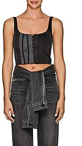 CFGOLDMAN Women's Silk Satin & Mesh Corset Top - Black