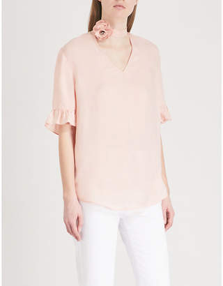 Sandro Floral-collar twill top
