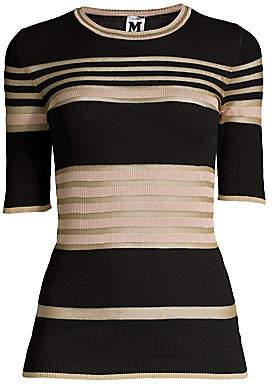 M Missoni Women's Stripe Rib-Knit Crew Tee