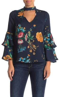 Jealous Tomato Tiered Sleeve Floral Cutout Blouse