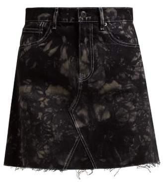 Proenza Schouler Pswl - Bleached Denim Mini Skirt - Womens - Black Multi