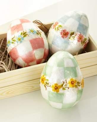 Mackenzie Childs MacKenzie-Childs Pastel Large Floral Eggs, Set of 3