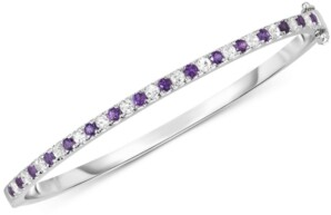 Macy's Amethyst (1 ct. t.w.) & White Topaz (1-3/8 ct. t.w.) Bangle Bracelet in Sterling Silver