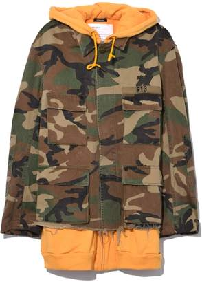 R 13 Camo Abu Jacket with Long Hoodie in Camo