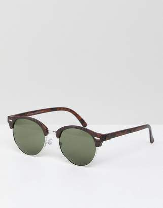 New Look Round Sunglasses In Brown