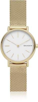 Skagen Signatur Slim Gold-Tone Steel-Mesh Watch