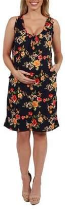 24/7 Comfort Apparel Bryn Black Floral Maternity Mini Dress