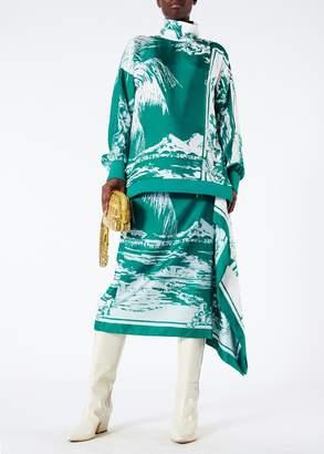 Tibi Leilani On Silk Twill Funnel Neck Tunic