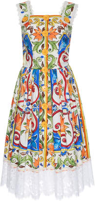 Dolce & Gabbana Maiolica Print Button-Up Dress