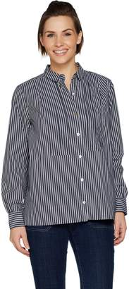 Logo By Lori Goldstein LOGO by Lori Goldstein Woven Striped Shirt with Pleated Neck