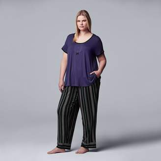 Vera Wang Women's Plus Size Simply Vera Short Sleeve Top & Pant Set