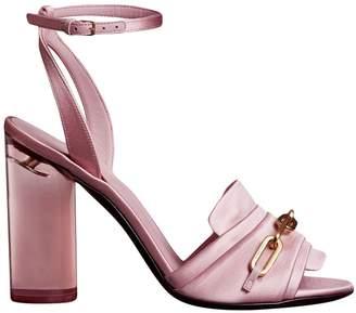 Burberry Link Detail Perspex Heel Satin Sandals