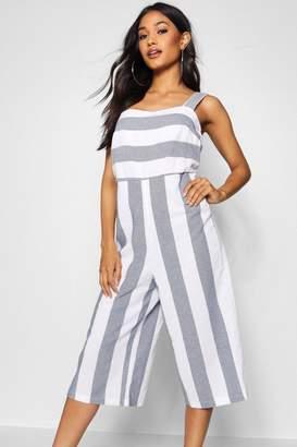 boohoo Linen Square Neck Wide Stripe Culotte Jumpsuit