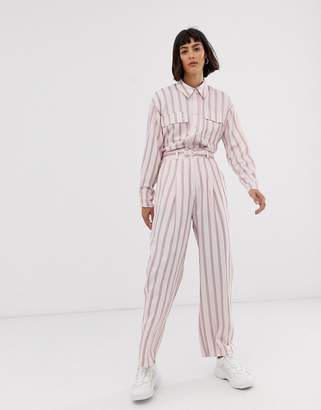 Asos pink vertical stripe pants