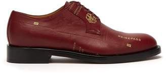 Vetements Passport Print Leather Derby Shoes - Mens - Burgundy