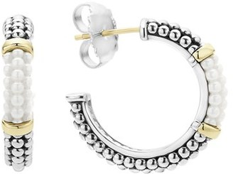 Women's Lagos 'Black & White Caviar' Hoop Earrings $325 thestylecure.com