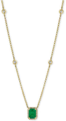 "Effy Emerald (1 ct. t.w.) & Diamond (1/5 ct. t.w.) 18"" Pendant Necklace in 14k Gold"
