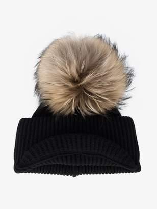 Inverni Black Ribbed Cashmere Hat with Visor and Fur Pom Pom