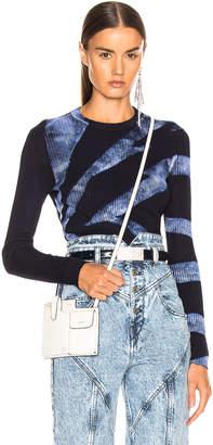 Proenza Schouler Tie Dye Rib Long Sleeve Top in Dark Indigo & White | FWRD