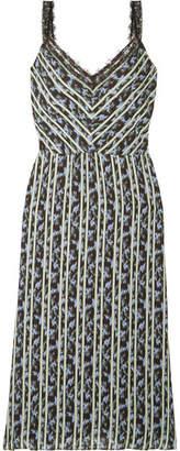 Jason Wu Lace-trimmed Printed Crepe Midi Dress - Black
