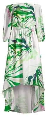Josie Natori Botanical Palms High-Low Dress
