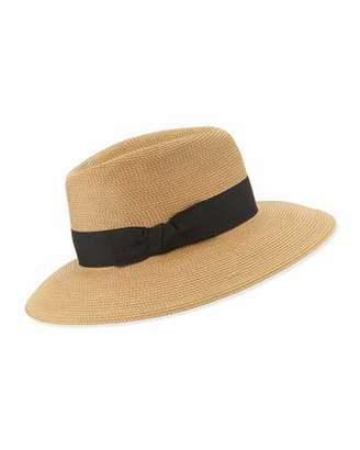 Eric Javits Phoenix Woven Boater Hat, Natural/Black $250 thestylecure.com