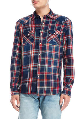 Desigual Navy Plaid Western Shirt
