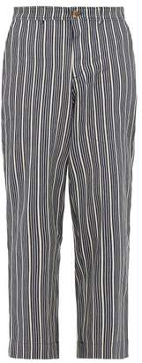 King & Tuckfield - High Waist Striped Cotton Twill Trousers - Mens - Indigo