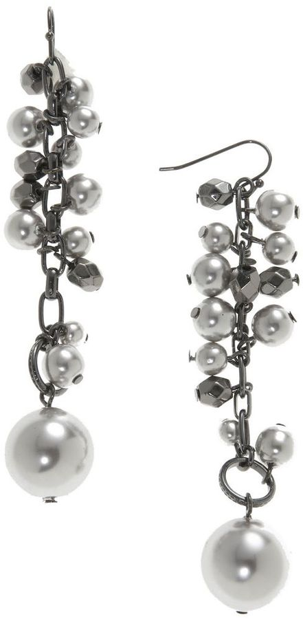 Lydell nyc pearl & bead linear earrings