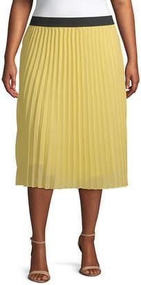 WORTHINGTON Worthington Womens Midi Pleated Skirt Plus