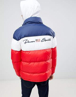 Penn Sport puffer jacket in red with block panels