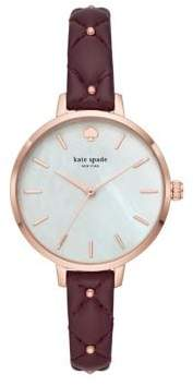 Kate Spade Metro Quilted Leather-Strap Watch