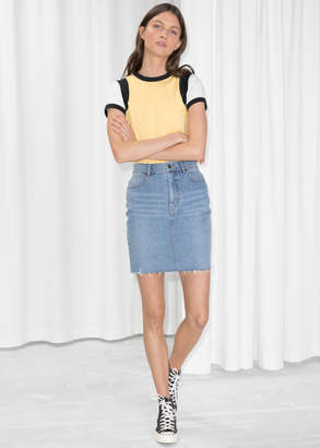 And other stories Raw Hem Denim Pencil Skirt