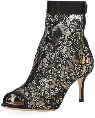 Valentino Embellished Lace Peep-Toe Booties