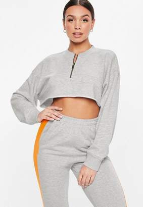 Missguided Tall Grey Oversized Zip Detail Crop Top