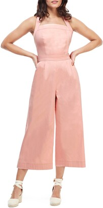 Gal Meets Glam Stephanie Cross Strap Cotton Jumpsuit